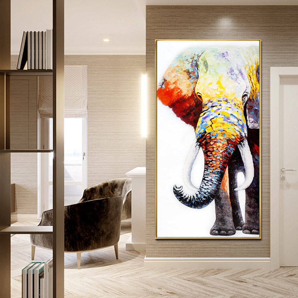 Animal Elephant Diamond Painting Full Round Oil painting style New DIY Sticking Drill Cross Embroidery 5D simple Home Decoration in Diamond Painting Cross Stitch from Home Garden