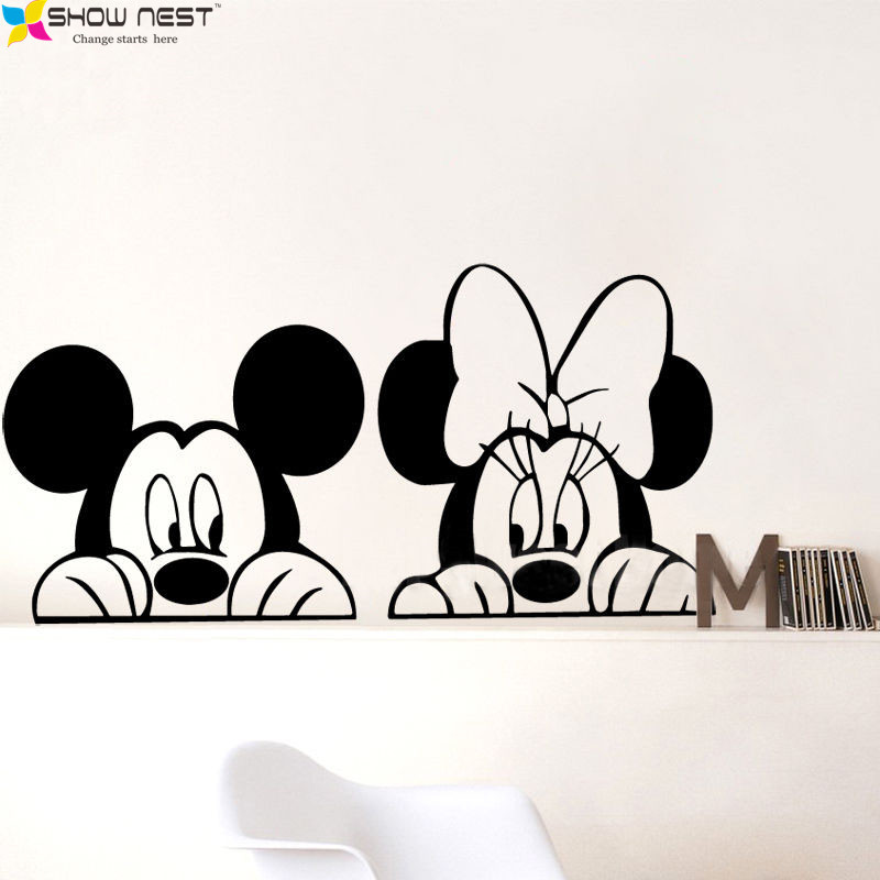 aliexpress com buy free shipping cartoon mickey minnie mickey and minnie vinyl wall decal disney wall art vinyl decal