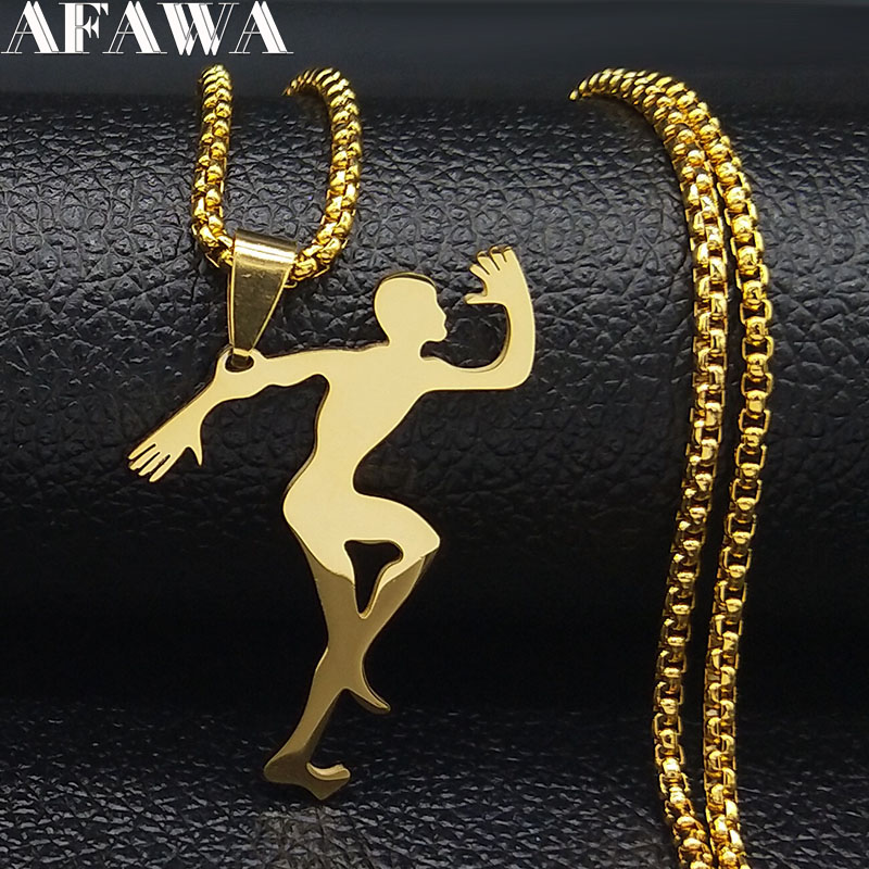 2020 Fashion Gold Color Stainless Steel Chain Necklaces for Men Jewelry Running Man Necklaces Jewelry erkek kolye N18905