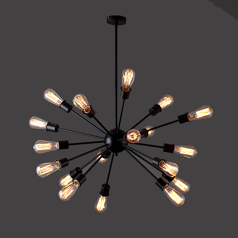 Aliexpress Modern Black Iron Chandelier Lamp 12 20 Heads Satellite Shape Vintage Metal Hanging Light Cafe Restaurant From