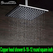 Hot Sale Free Shipping Solid Brass Chrome 8'',10'',12'' Various Inches Square/Round Rainfall Shower Head Bathroom Faucets