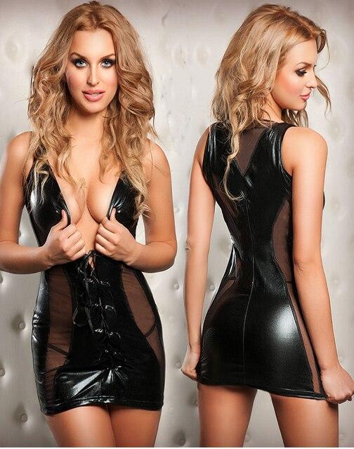 689f527f14e5e Sexy Queen Nightclub Costume Wet Look PU Leather Mini Dress Deep V  Sleeveless Mesh Latex Catsut Women Exotic Clubwear