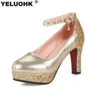 Large Size Bling Wedding Shoes Women High Heels Platform Ankle Strap Ladies Shoes Silver Pumps Fashion