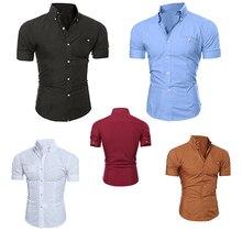 Пуговицах нагрудные блузка бизнес твердые коротким рубашка топ повседневная рукавом мужская