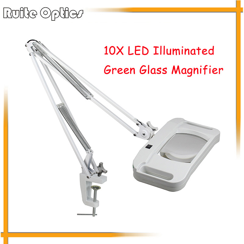 220V 10X Desk Clip-on LED Illuminated Green Optical Big Magnifying Glass LED Lamp Folding Stand Large Magnifier With LED Lights
