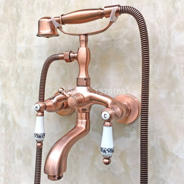 Wall Mount Clawfoot Tub Faucet Handheld Shower. Antique Red Copper Clawfoot Bath Tub Mixer Tap Faucet Handheld Shower Wall  Mount Dual Ceramics Levers Aliexpress com Buy