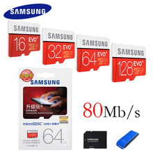 Original SAMSUNG Tarjeta de Memoria Flash 128 GB 64 GB 32 GB 16 GB 80 M/s EVO + Tarjeta de Almacenamiento MicroSD Class10 de TF Tarjeta SDHC SDXC para teléfono