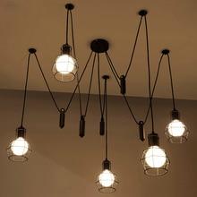 De hierro negro araña luces Pendientes lámpara colgante comedor Cafe Cocina polea Ajustable Barra de luz retro E27 iluminación interior