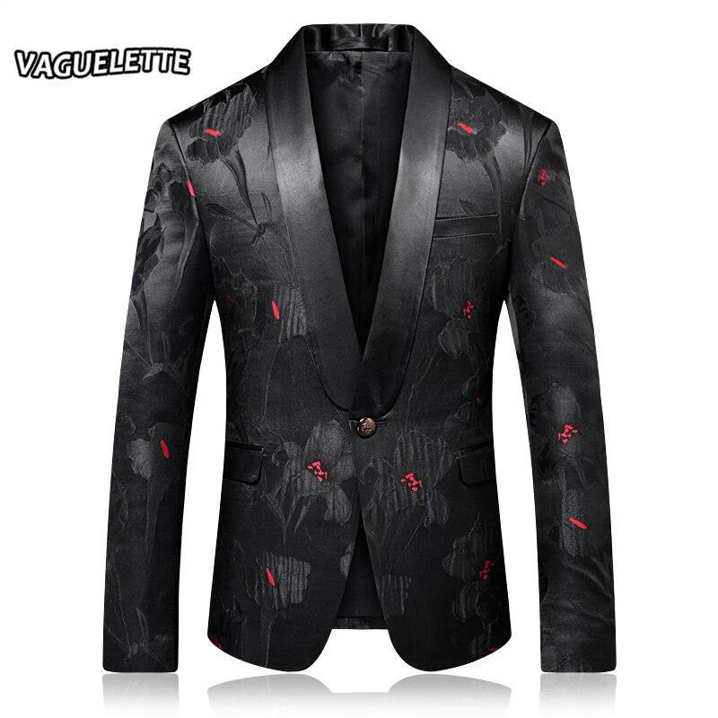 Veste Blazer florale brodée pour homme veste cintrée à bouton unique col châle Costume de scène pour homme Costume de mariage pour homme Blazer motif M-4XL