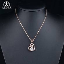 AZORA Rose Color Stellux Crystals Heart Pendant