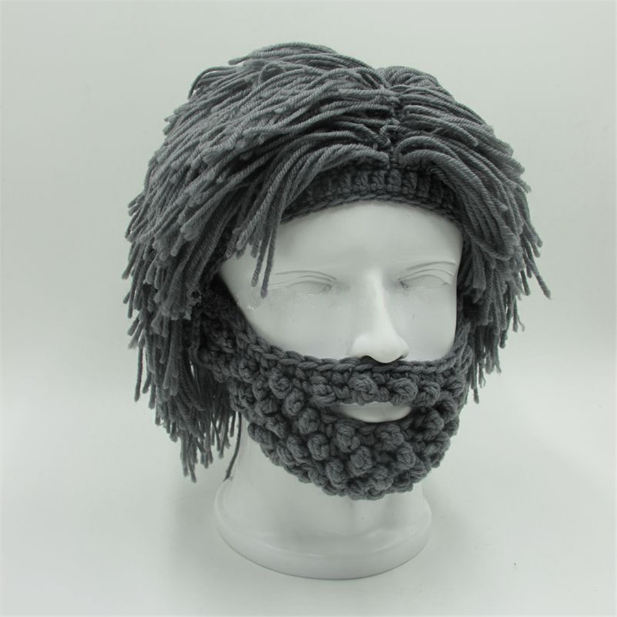 Novelty Mad Scientist Caveman Handmade Knit Warm Winter Caps Men Women Halloween Gift Funny Party Mask Beanies caveman dave
