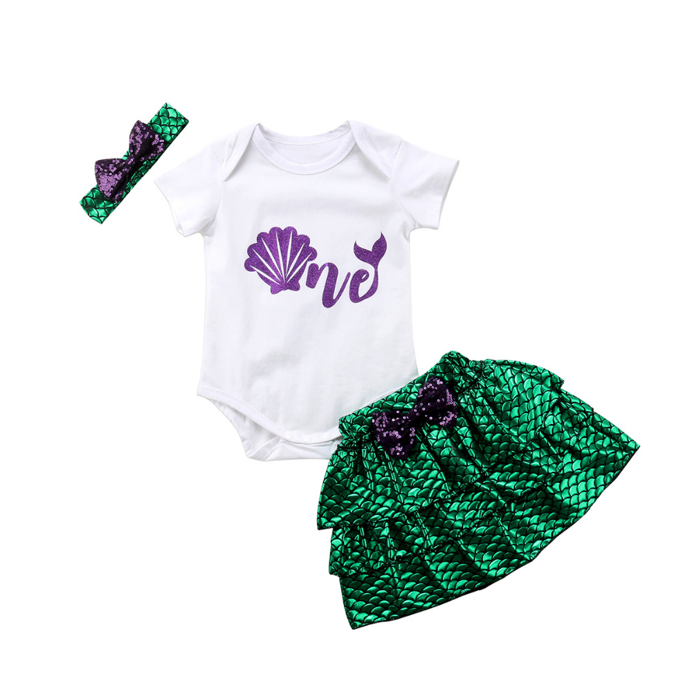 Clothing Sets Mermaid Short Pants Headband Outfits Baby Clothing Newborn Baby Kids Girl Letter Short Sleeve T-shirts Clothes Jumpsuit Romper