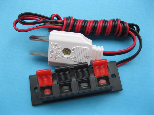 10 pcs Speaker Terminal Board Spring Loaded 4 Way With Adapter Plug ...