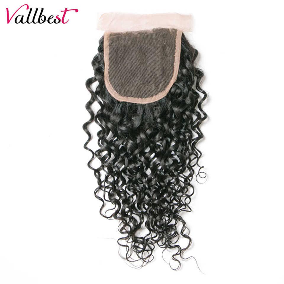 Перуанская волна Кружева Закрытие 100% человеческие волосы закрытие 4X4 натуральный черный 120% плотность свободная часть Реми кружева закрытие Vallbest