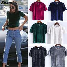 Summer 2018 Autumn women Sexy velvet color fashion short sleeve t-shirt Tube camisole tshirt tops crop top t-shirts