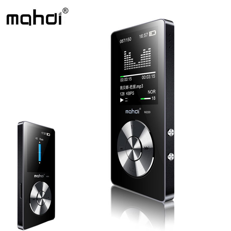 Mahdi Mp3 Player HIFI Sport Metal Portable Digital Audio Car Music Mini Player Speaker FM Radio E-book 1.8inch Screen With Card