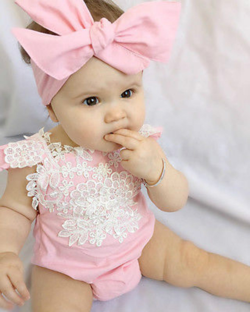 Lace Sleeveless Baby Girl Romper Newborn Baby Girls Pink Lace Floral Romper Backless Jumpsuit Body suit With headband Set  0-18M newborn baby backless floral jumpsuit infant girls romper sleeveless outfit