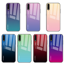 Gradientowe etui na telefon ze szkła hartowanego dla Huawei Honor 7C 5 99 7A Pro Y5 Y6 Y7 Prime 2019 Y7 Pro 2019 pokrowiec ochronny Capa tanie tanio CASPTM Wodoodporna Odporna na brud Anti-knock Aneks Skrzynki Gradient Tempered Glass Case Mate 20 Lite Zwykły Soft Silicone Edge + Tempered Glass Cover + Painted Layer Case