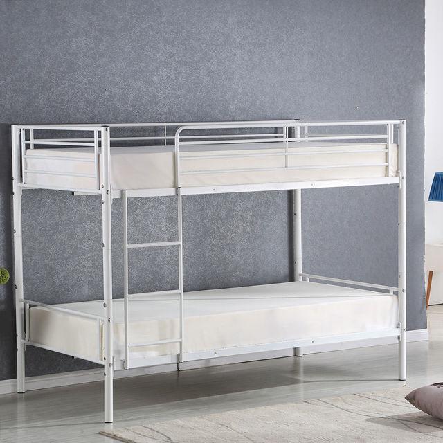 Giantex Metal Twin Over Twin Bunk Bed Modern Metal Steel Beds Frame with Ladder Adult Children Bedroom Dorm Furniture HW56067+