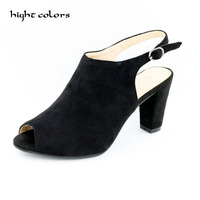 Sexy Open Toe Roman Sandals 2017 Thick Heel Strap Buckle High Heels Women Pumps Slingback High