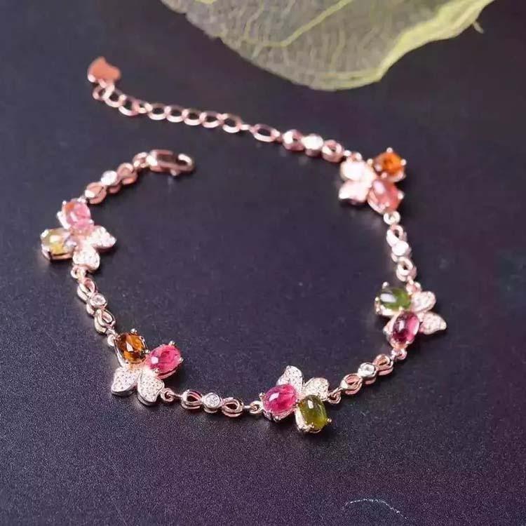 925 Bracelets en argent Sterling Tourmaline Bracelet papillon bijoux fins pour les femmes