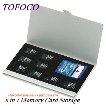 High Quality 8 in 1 Portable Aluminum Micro For TF SD SDHC TF MS Memory Card Storage Case Protector Holder SIM Card Accessories 1