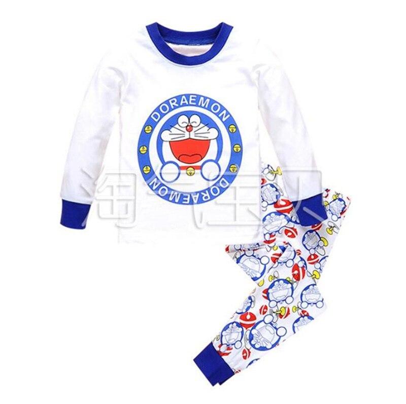 2pc Boy cotton cartoon sleepwear Doraemon Kids Loungewear Long Sleeves Pyjamas Children Doraemon Costume Cartoon T shirt