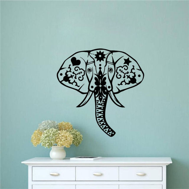 Indian Pattern Wall Decals Head Of Elephant Wall Sticker Living - Elephant wall decals