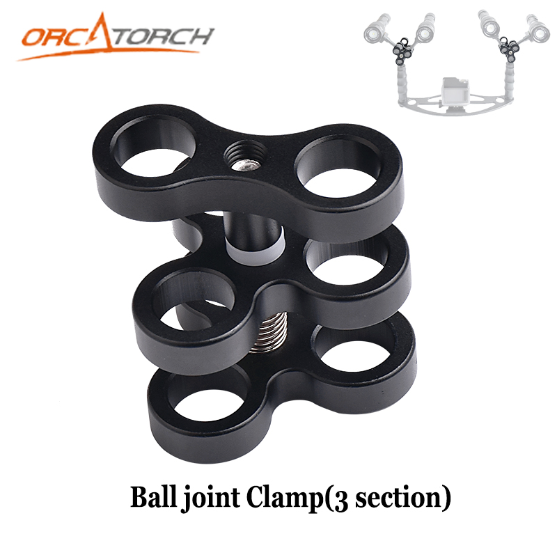 Aluminum Ball Joint Arms 3 Section Ball Clamp 3 Mount Hole for Diving Underwater Photography Camera Arm Tray GoPro LED Light цены