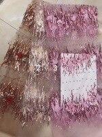 2018 best продавать африканский шнурок ткани 3D аппликация с перо французской ткани Высокое качество с бисером Франция тюль кружевной ткани
