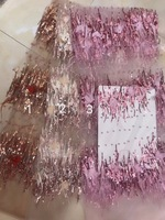 2018 Best Selling African Lace Fabric 3D Applique with feather French Fabric High Quality with beads France Tulle Lace Fabric