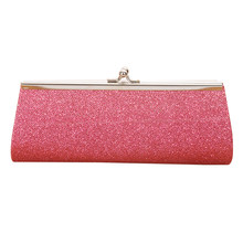 PVC Evening Handbag Colorful Shining Glitter Long Wallet Shimmer Purse with Metal Strap for Women Girls Lady(China)