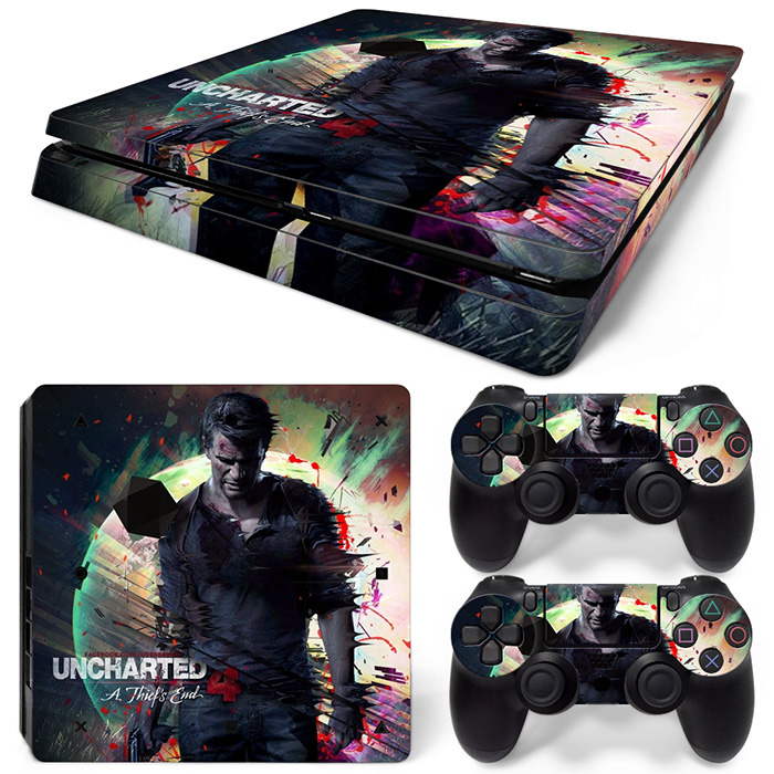 Free Drop Shipping 2017 Newest for Uncharted 4 a Thief`s End sticker for ps4 slim skin sticker console and 2 controller decals