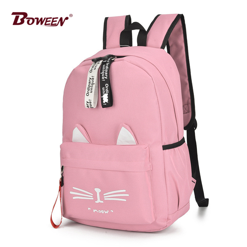 Cute Cartoon Cat Ears Backpack Girl Schoolbag For Teenage Women Back Pack Nylon School Backpack Famale Teen Bagpack 2018 New(China)