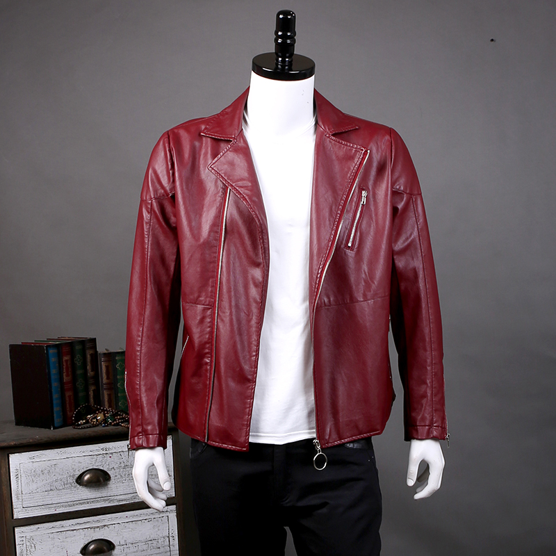 2018 Autumn New Male Leather Jacket Fashion Solid Slim Fit Motorcycle Jacket Men Plus Si ...