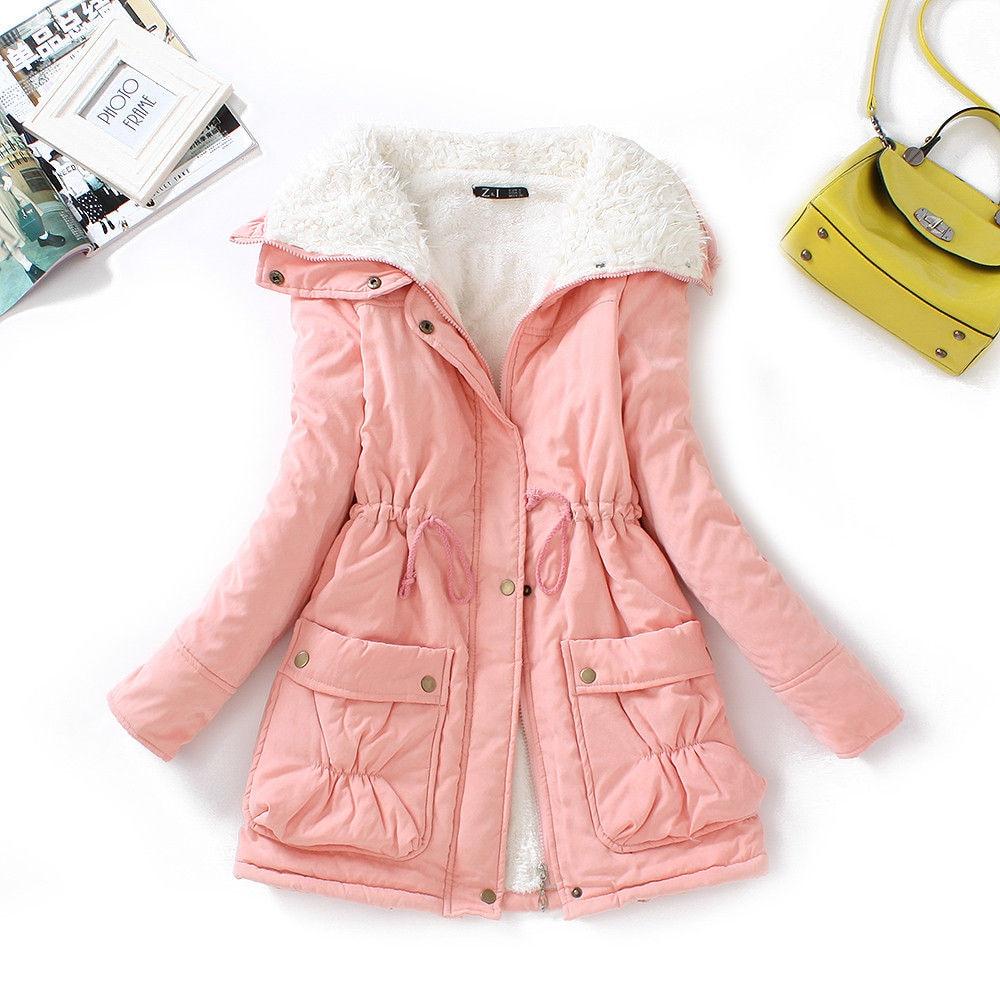 FTLZZ, новые зимние парки, женское тонкое хлопковое пальто, толстое пальто средней длины размера плюс, повседневное пальто, стеганая зимняя верхняя одежда - Цвет: pink