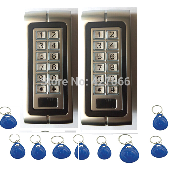 2PCS 125Khz RFID Proximity Card Door Access Control System Metal Keypad Access Control with 20 pcs Keyfobs