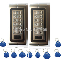 2PCS 125Khz RFID Proximity Card Door Access Control System Metal Keypad Access Control With 20
