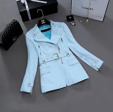 Spring black sky blue fashion motorcycle genuine leather jacket womens sheepskin jackets and coats slim oblique zipper short 3XL