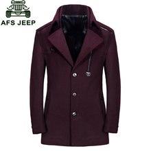 Wool & Blends Men Winter Erkek mont Palto Coat New 2017 Long Style Business Casual Parkas Brand Warm Clothing Wine Red