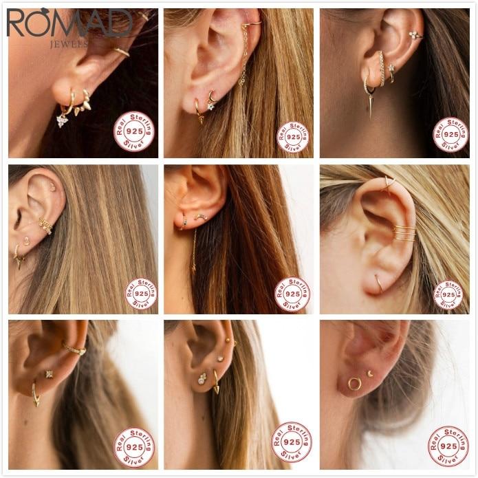 ROMAD Punk 925 Sterling Silver Earrings For Women/Men Ear Small Earrings Gothic Ear Bone Hoops Girl Aretes  Earrings R5