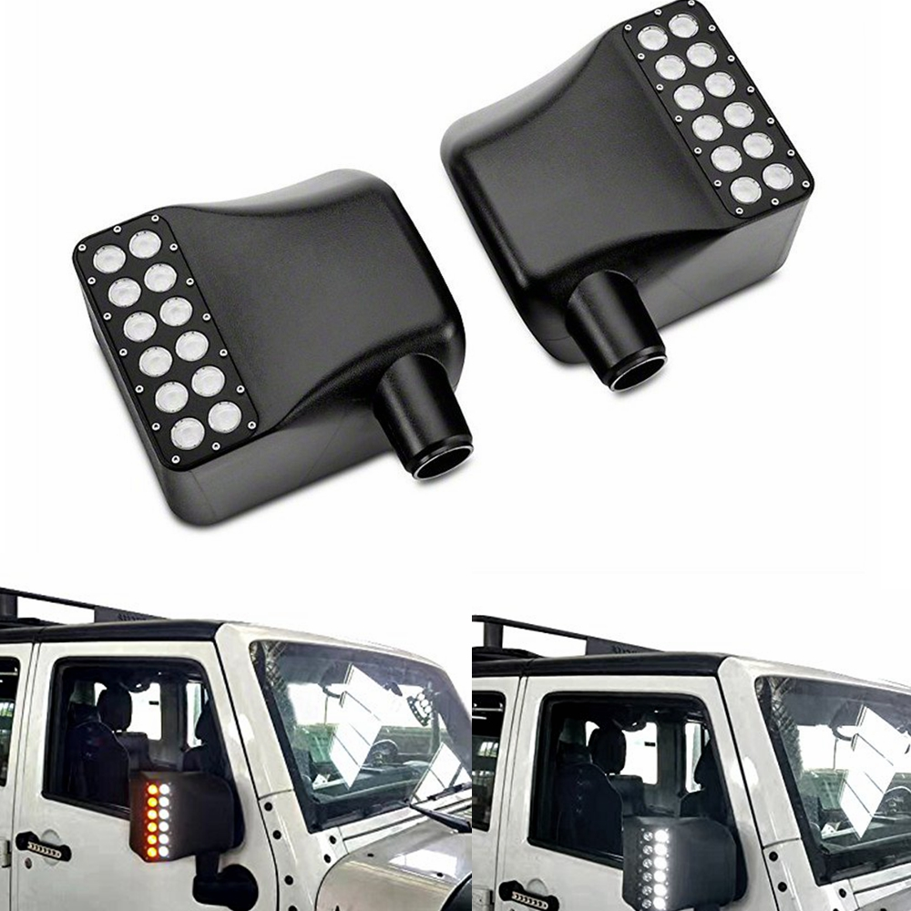 US $83 76 20% OFF|For JEEP WRANGLER JK LED OFF ROAD REARVIEW MIRROR UPGRADE  with Turn Signal Lights & DRL& Side Mirror Lights Side Mirror Lamp-in