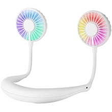 Hand Free Usb Personal Fan- Portable Handheld Mini Led Fan Headphone Design Neckband Internal Rainbow And White Light, 3 S