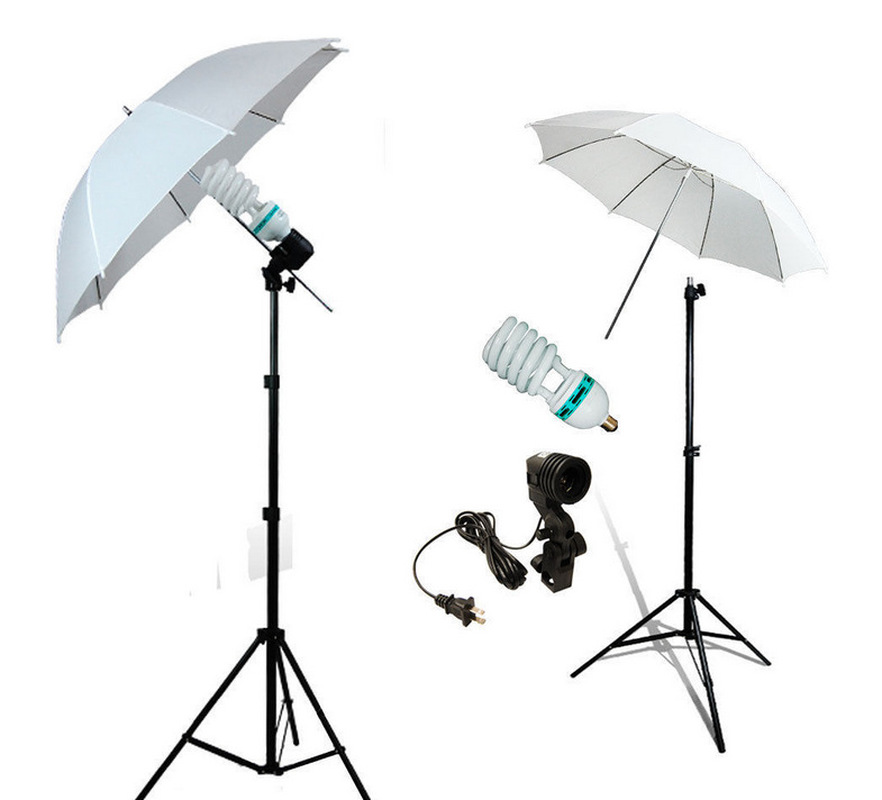 Photography and Video Day Light Umbrella Continuous Lighting Kit with Stands (2 White Umbrellas) 2 7 m outdoor umbrellas patio umbrella column banana straight with a hand of iron
