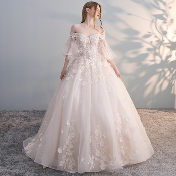 2019 Wedding Dress Bell Half Sleeves Lace Embroidery Custom made Court Train Ball Gown Robe De Mariee Princess Wedding Gown