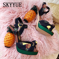 New Pineapple Design Women Chunky High Heels Printing Summer Platform Sandals Wedding Shoes Woman Stiletto Dress Shoes
