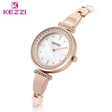 Kezzi nuevo de alta calidad de la manera de las mujeres relojes de cuarzo rosa de oro rhinestone simple dial pulsera relojes señoras reloj
