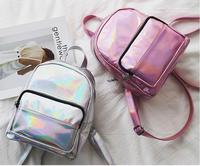 NEW Arrival Women Hologram Backpack Laser Bag Mini Girls School Bag Solid Color PU Leather Shoulder