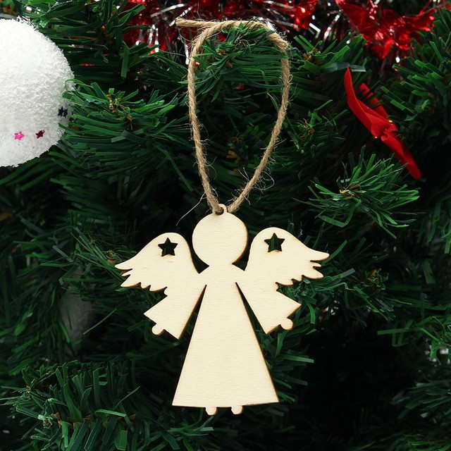 10pcs/lot Plywood Wooden Angel Shape Christmas Tree Decorations DIY Blank  Christmas Party Hanging Ornament