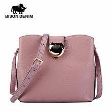 BISON DENIM Genuine Leather Bags Women Bucket Designer Shoulder Messenger for Women High Quality N1364